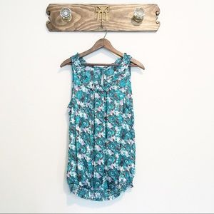 Romy Teal Floral Sleeveless Blouse Cute Details